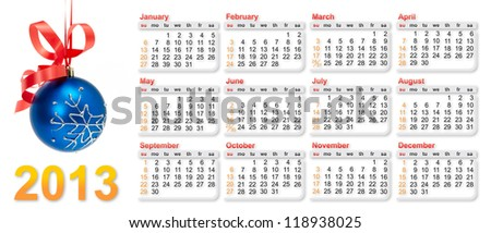 Calendar 2013 with christmas decoration on white background - stock photo