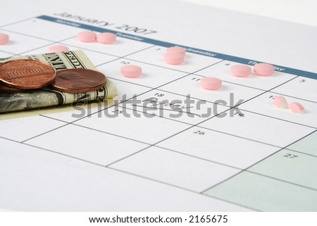 Calendar with daily pills reducing from two to a split pill before payday, showing dollar & change