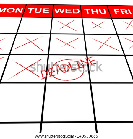 Calendar with Deadline - stock photo
