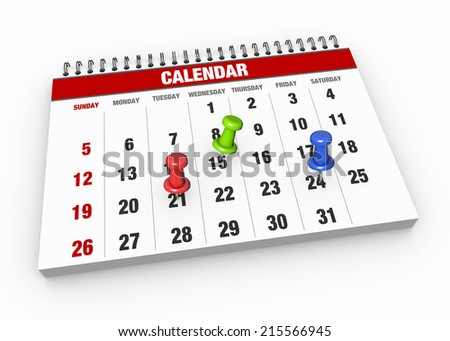 Calendar with pushpins  as concept - stock photo