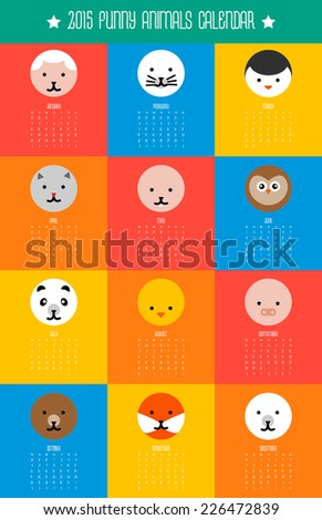 calendar with round flat cute animals icons winks start on monday - stock photo