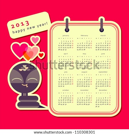 Calendar 2013 with snake (raster version) - stock photo