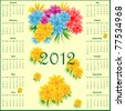 Calendar 2012 year decorated with colorful flowers. Vector also available. - stock photo