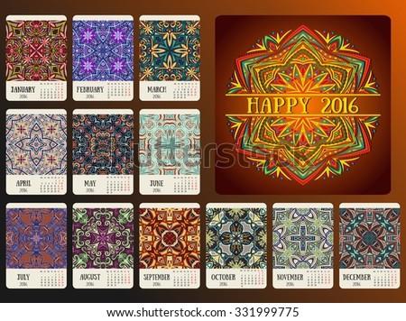 Calendar 2016 year design, raster - stock photo