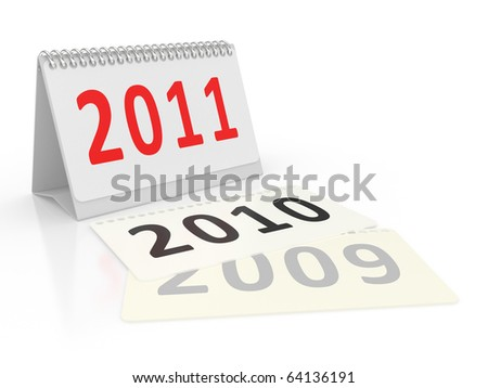 Calendar Year 2011 on a white background - stock photo