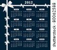 Calendar 2012 year with white bows on a dark background. Vector also available. - stock photo