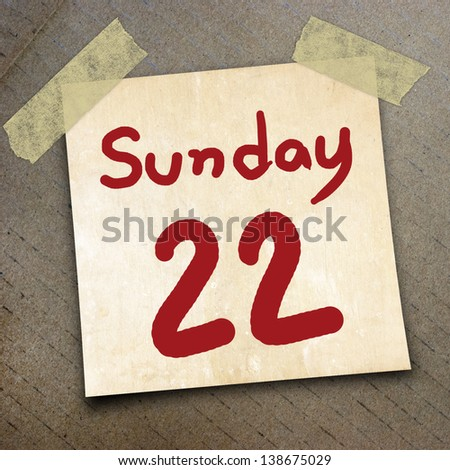 calender date and day of the week on the packing paper box texture background
