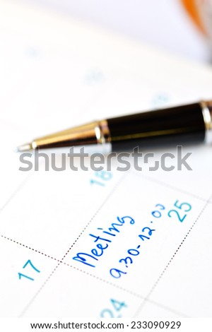 calender date with pen for the great holiday of modern human life. - stock photo