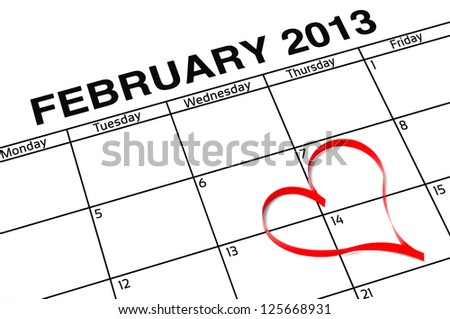 Calender page with a detail of the valentines day - stock photo