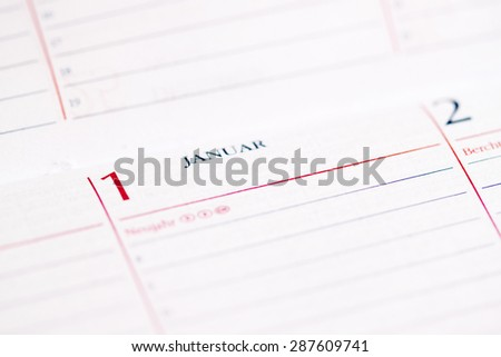 calender showing New Year's Day - stock photo
