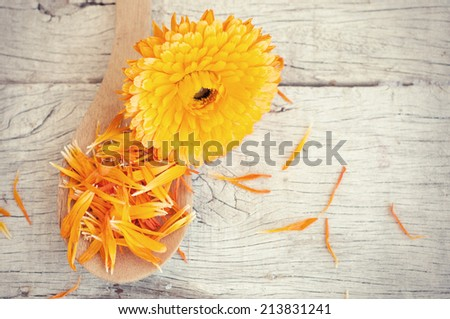 Calendula treatment  on wooden table