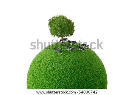 Calf standing green planet - stock photo
