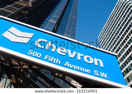 CALGARY, ALBERTA - NOV 14: - Chevron Oil's head office in Calgary Alberta on November 14, 2013. Chevron is one of the developers of the Alberta Oil sands, and a global energy company based in the USA.