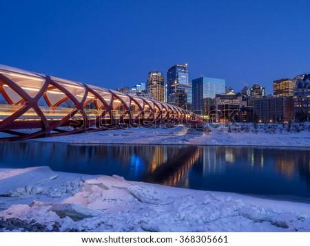 Calgary at night. - stock photo