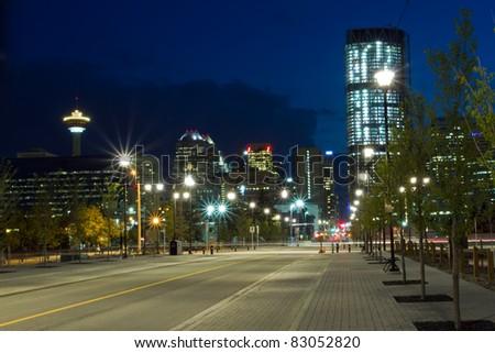 Calgary at night, Canada - stock photo