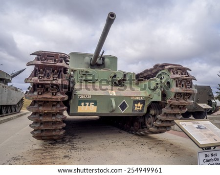 CALGARY, CANADA - FEB 20:  Exhibits outside the Military Museums on February 20, 2015 in Calgary, Alberta Canada. It is made of museums dedicated to representing Canada's navy, army, and air force.