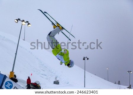 CALGARY CANADA JAN 2 2015. FIS Freestyle Ski World Cup, Winsport, Calgary Mr. Ji-hyon Kim from Korea at the Mogul Free Style World Cup on practice day.  - stock photo
