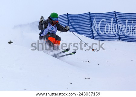 CALGARY CANADA JAN  3  2015.  FIS Freestyle Ski World Cup, Winsport, Calgary Ms. Laura Gresemann from Germany at the Mogul Free Style World Cup on race day.  - stock photo