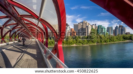 CALGARY, CANADA - JULY 8: Inside the Peace Bridge which spans the Bow River on July 8, 2016 in Calgary, Alberta. The Peace Bridge was designed by celebrity architect Santiago Calatrava. - stock photo