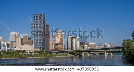 CALGARY, CANADA - JUNE 5: Calgary skyline from the East Village on June 5, 2016 in Calgary, Alberta Canada. The East Village area is large new residential development in central Calgary.