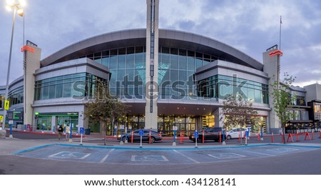 CALGARY, CANADA - JUNE 3: Chinook Centre shopping mall at sunset on June 3, 2016 in Calgary, Alberta Canada. Chinook mall is one of the busiest malls in Alberta and Canada. - stock photo