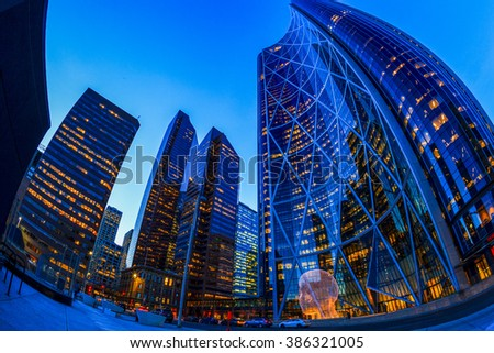 CALGARY, CANADA - MAR 5 2016: The Bow Tower  in Calgary, Alberta Canada. The Bow is the newest and tallest skyscraper in Canada outside Toronto and home to Encana and Cenovus. - stock photo