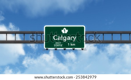 Calgary Canada Transcanada Highway Road Sign 3D Illustration - stock photo