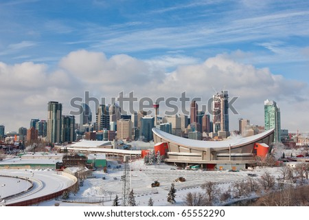 Calgary Downtown in Winter - stock photo