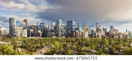 Calgary - panorama of city. Calgary, Alberta, Canada.