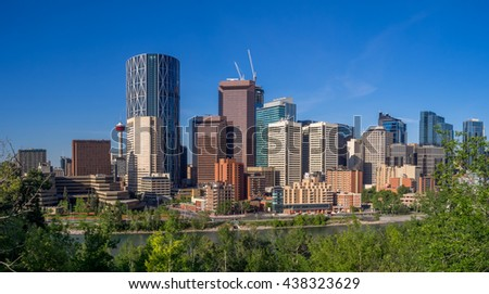 Calgary skyline on a beautiful spring morning.