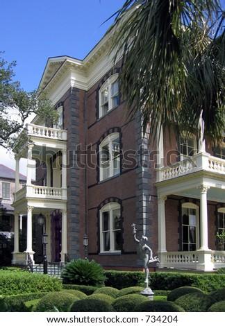 Calhoun Mansion on Meeting Street in Charleston; built 1876 - stock photo