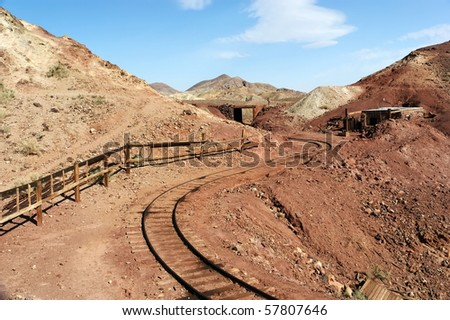 Calico Ghost Town with abandoned gold and silver mines.   Calico is a ghost town, and former Mining town, located in the Calico Mountains of the Mojave Desert region of Southern California, America - stock photo