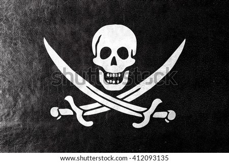 Calico Jack Pirate Flag, painted on leather texture - stock photo