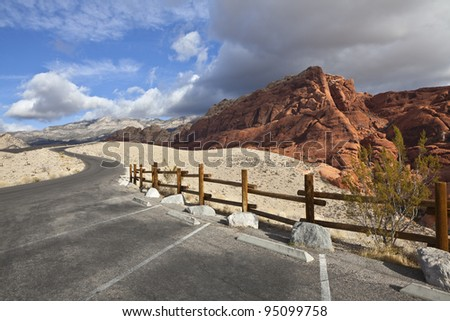 Calico rocks at Nevada's Red Rock National Conservation Area. - stock photo