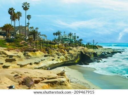 California Beach and Palm Trees San Diego, California  - stock photo