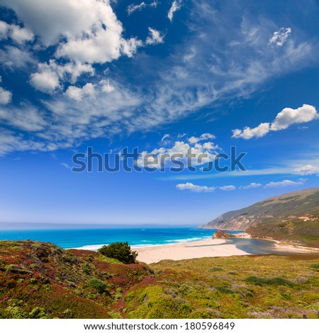 California beach in Big Sur in Monterey Pacific Highway along State Route 1 US - stock photo