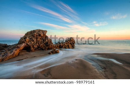 california beach in sunset - stock photo