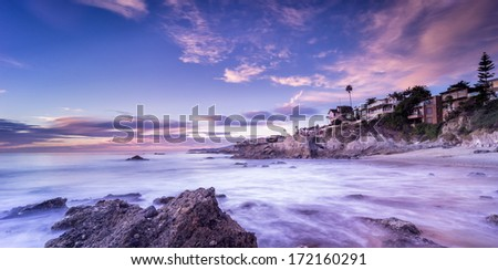 California beach sunset - stock photo