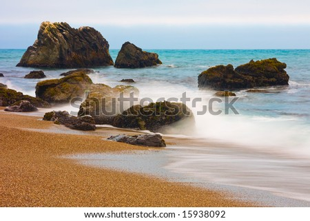 California coast at sunset - stock photo
