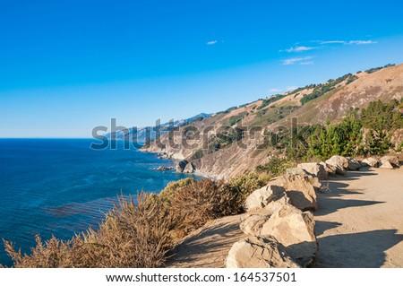 California coast from Highway 1 near Big Sur, California - stock photo