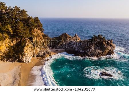 California coast - Mcway falls in Big Sur - stock photo