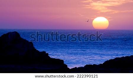 California Coast Sunset, USA - stock photo