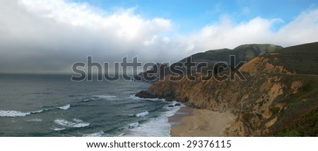 California coast with clouds over the Pacific. - stock photo