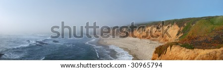 California coast with fog coming from the Pacific to the land. - stock photo