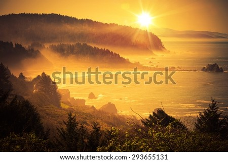 California Coastal Sunset. Shoreline Between Crescent City and Eureka in Northern California, United States. Scenic Sunset. - stock photo