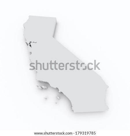 california 3d map on white isolated - stock photo