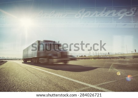 California desert trucking double exposure image - Truck on Highway i10 passing through Palm Springs Mohave desert area sun blazing down on asphalt road.  - stock photo