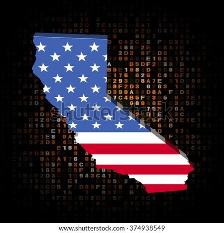 California map flag on hex code illustration - stock photo