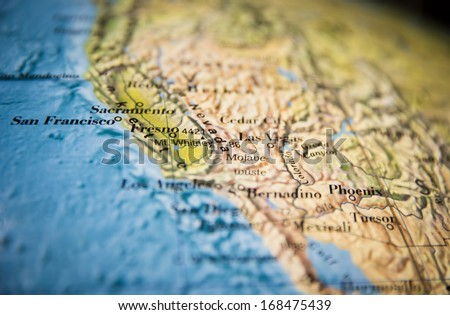 California map part of a world globe - stock photo