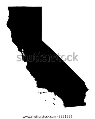 California map, USA. Mercator projection. - stock photo